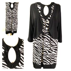 [Enfocus] Zebra print shift dress w keyhole sz 14